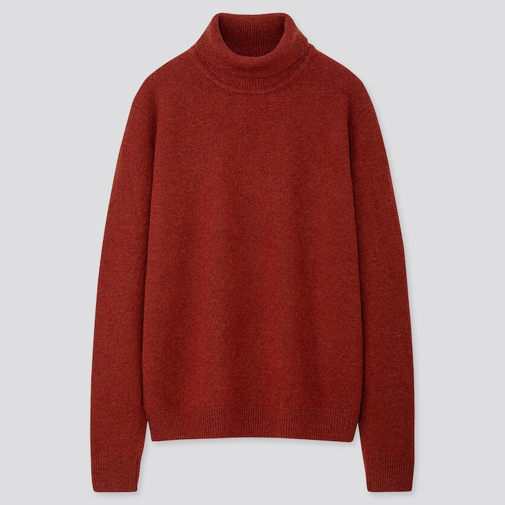 Men Premium Lambswool Turtleneck Long-sleeve Sweater, Orange, Large