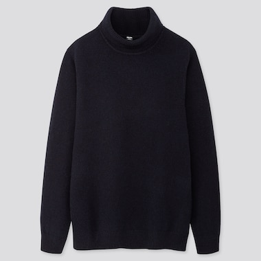 MEN PREMIUM LAMBSWOOL TURTLENECK LONG-SLEEVE SWEATER, NAVY, medium