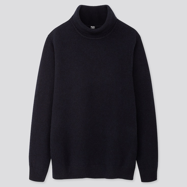 MEN PREMIUM LAMBSWOOL TURTLENECK LONG-SLEEVE SWEATER, NAVY, large