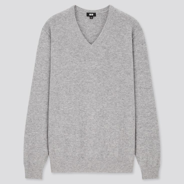 Men Cashmere V-Neck Long-Sleeve Sweater, Gray, Large