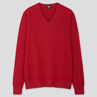 MEN CASHMERE V-NECK LONG-SLEEVE SWEATER, RED, medium
