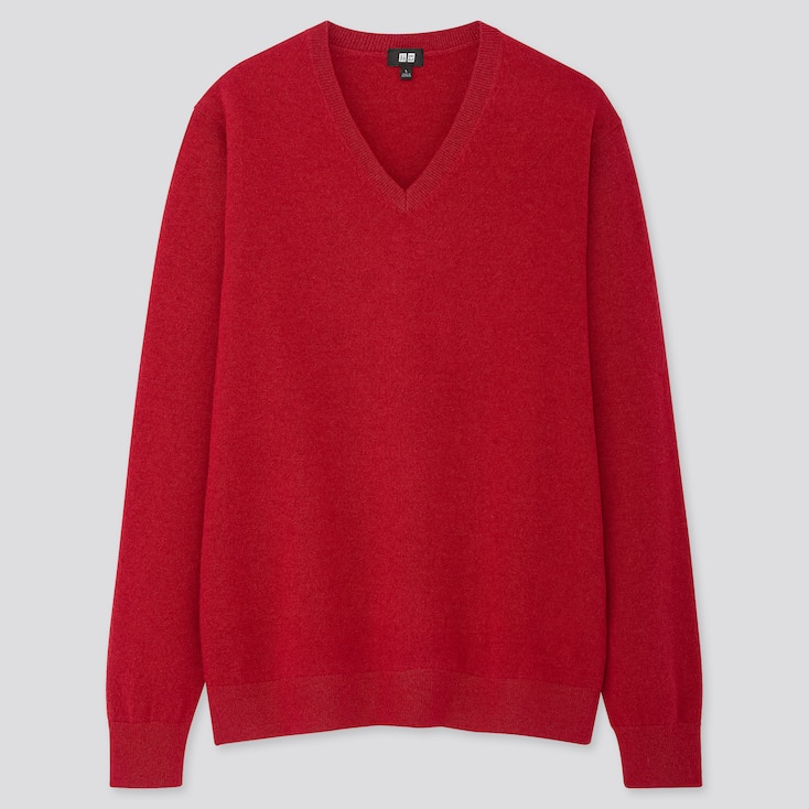 Men Cashmere V-Neck Long-Sleeve Sweater, Red, Large