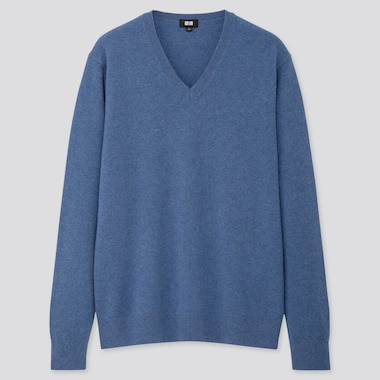 Men Cashmere V-Neck Long-Sleeve Sweater, Blue, Medium