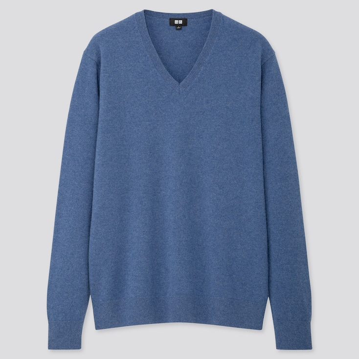 Men Cashmere V-neck Long-sleeve Sweater, Blue, Large
