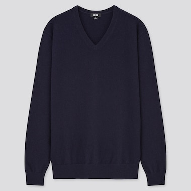 MEN CASHMERE V NECK JUMPER