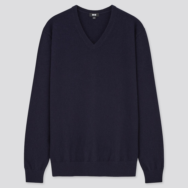 Men Cashmere V-Neck Long-Sleeve Sweater, Navy, Large