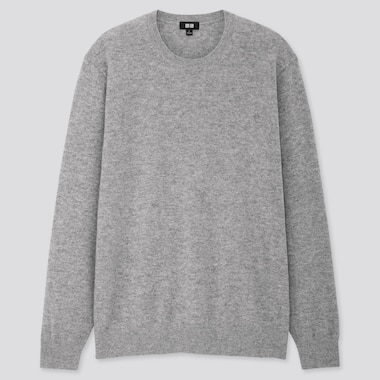 MEN CASHMERE CREW NECK LONG-SLEEVE SWEATER, GRAY, medium