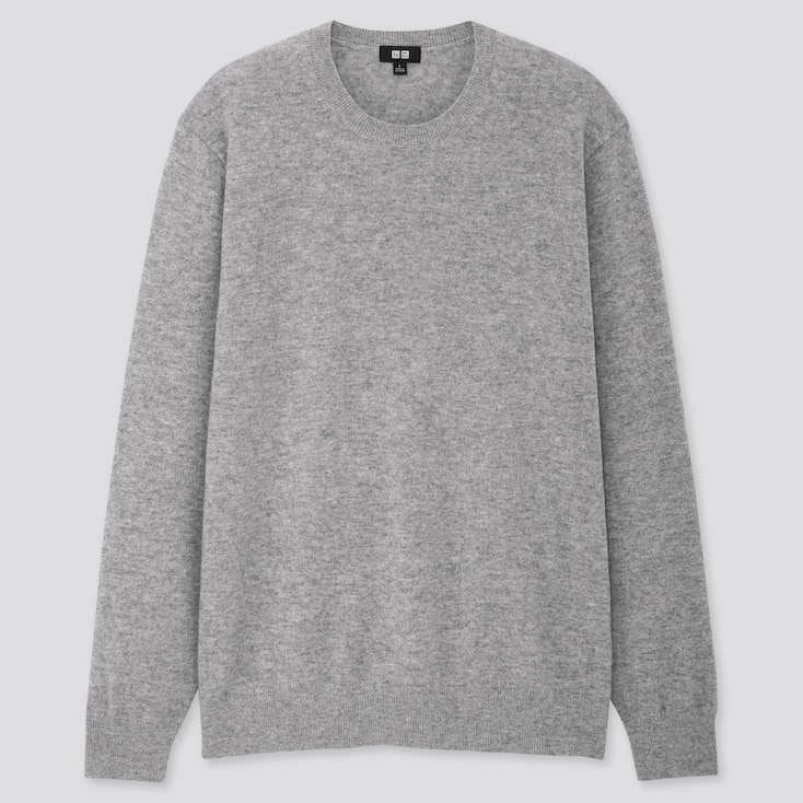 Men Cashmere Crew Neck Long-Sleeve Sweater, Gray, Large