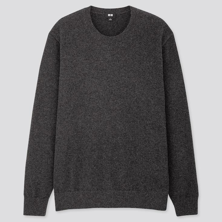 Men Cashmere Crew Neck Long-Sleeve Sweater, Dark Gray, Large