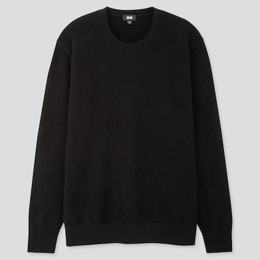 MEN CASHMERE CREW NECK LONG-SLEEVE SWEATER, BLACK, medium
