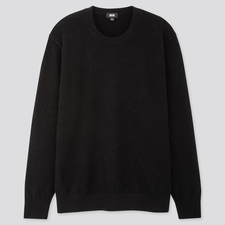 Men Cashmere Crew Neck Long-sleeve Sweater, Black, Large