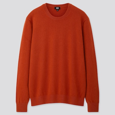 Men Cashmere Crew Neck Long-Sleeve Sweater, Orange, Medium