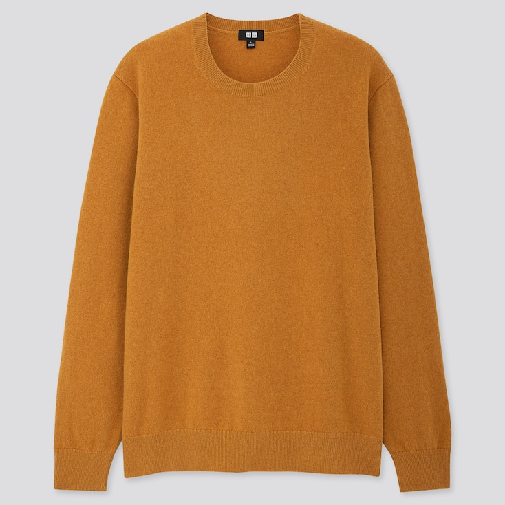MEN CASHMERE CREW NECK LONG-SLEEVE SWEATER, YELLOW, large