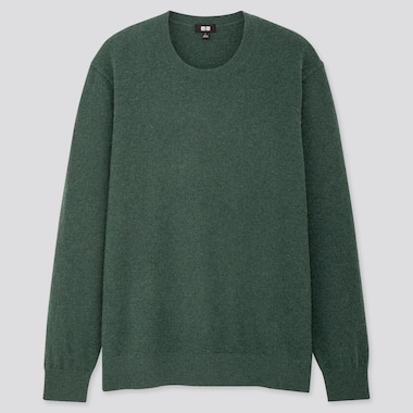 MEN CASHMERE CREW NECK LONG-SLEEVE SWEATER, GREEN, medium
