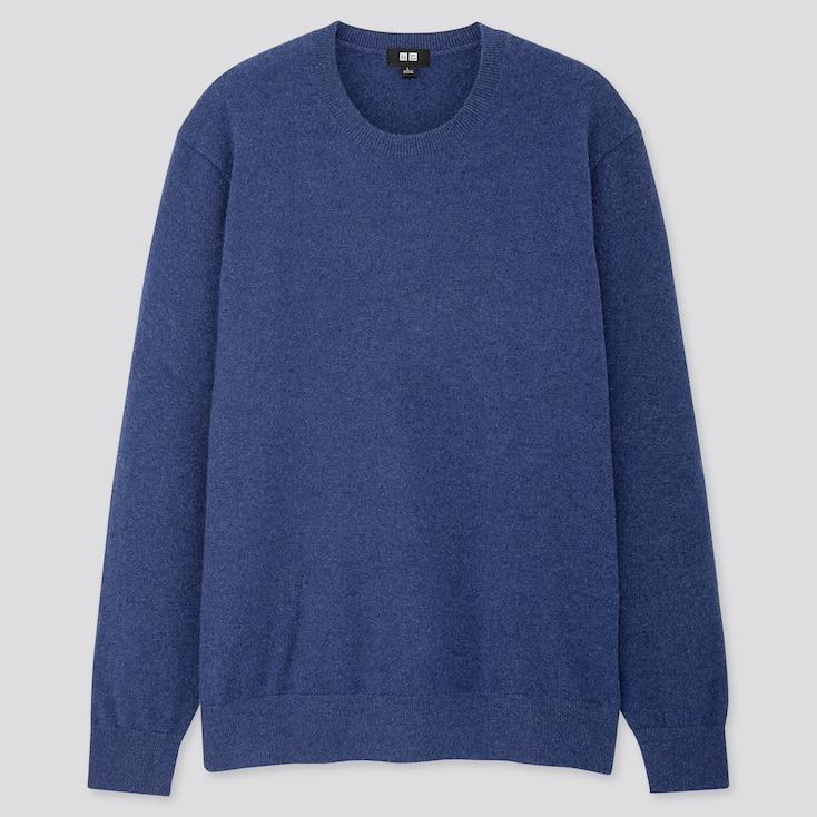 MEN CASHMERE CREW NECK LONG-SLEEVE SWEATER, BLUE, large