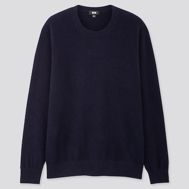 MEN CASHMERE CREW NECK LONG-SLEEVE SWEATER, NAVY, medium