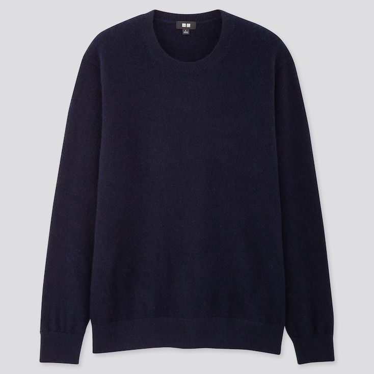 MEN CASHMERE CREW NECK LONG-SLEEVE SWEATER, NAVY, large