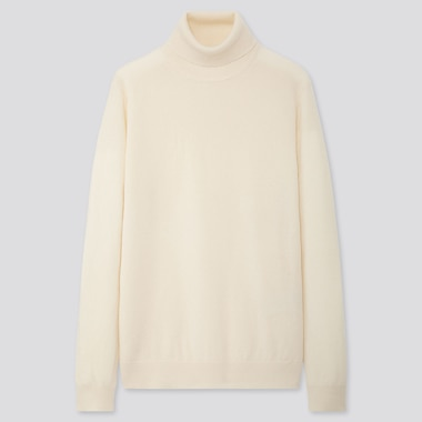 MEN CASHMERE TURTLENECK LONG-SLEEVE SWEATER, OFF WHITE, medium