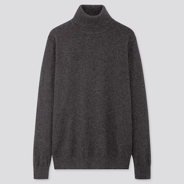 MEN CASHMERE TURTLENECK LONG-SLEEVE SWEATER, DARK GRAY, medium
