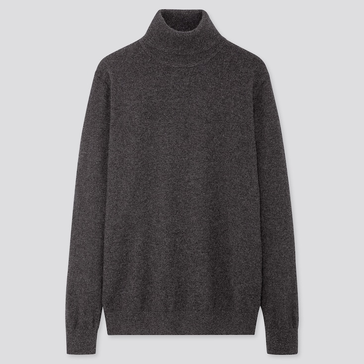 Men Cashmere Turtleneck Long-Sleeve Sweater, Dark Gray, Large