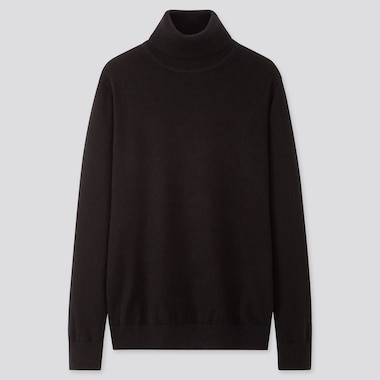 MEN CASHMERE TURTLENECK LONG-SLEEVE SWEATER, BLACK, medium