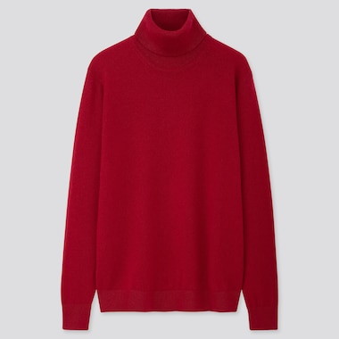 Men Cashmere Turtleneck Long-Sleeve Sweater, Red, Medium