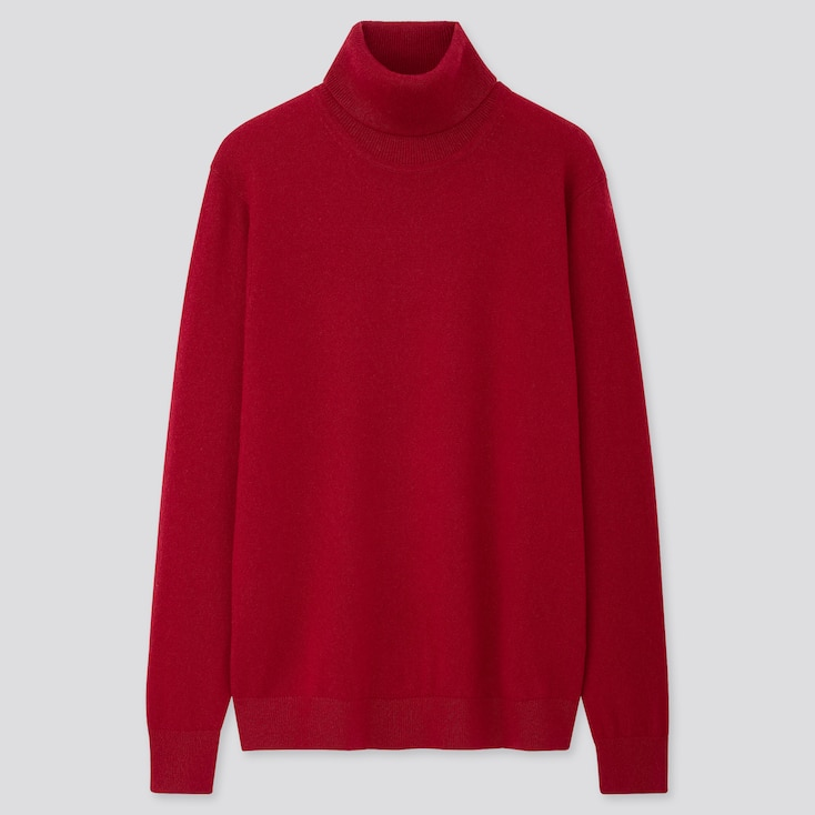 Men Cashmere Turtleneck Long-Sleeve Sweater, Red, Large