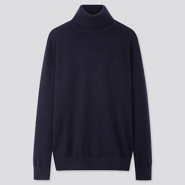 MEN CASHMERE TURTLENECK LONG-SLEEVE SWEATER, NAVY, medium