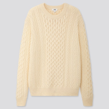 MEN CABLE KNIT CREW NECK JUMPER
