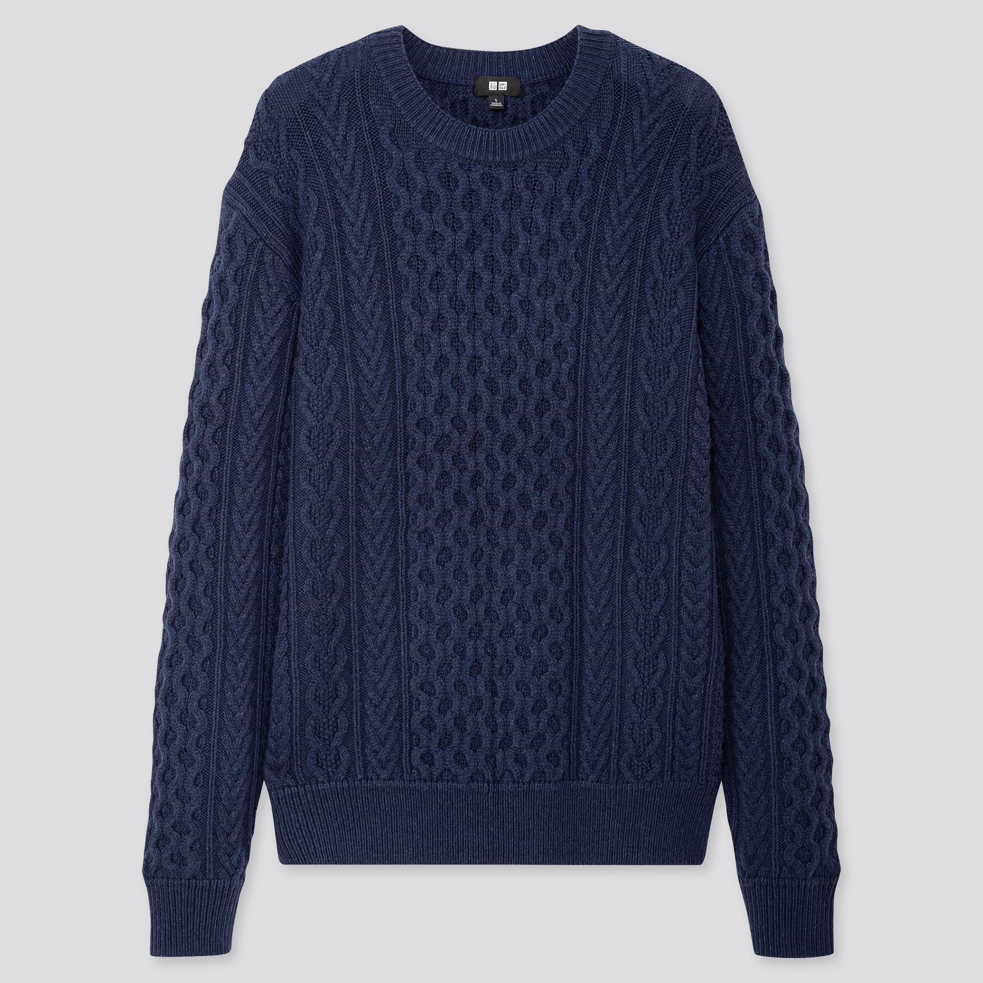 Men Cable Crew Neck Long Sleeve Sweater Uniqlo Us