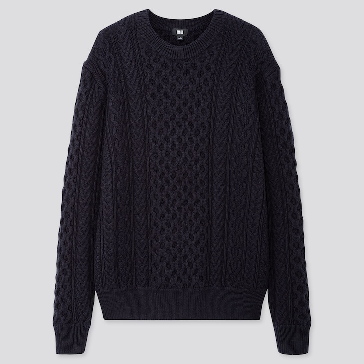 MEN CABLE CREW NECK LONG-SLEEVE SWEATER, NAVY, large
