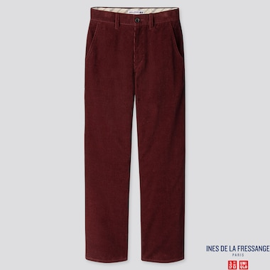 WOMEN CORDUROY WIDE-LEG PANTS (INES DE LA FRESSANGE), WINE, medium