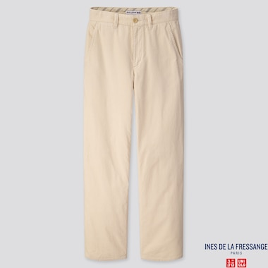 WOMEN CORDUROY WIDE-LEG PANTS (INES DE LA FRESSANGE), NATURAL, medium