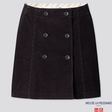 WOMEN CORDUROY MINI SKIRT (INES DE LA FRESSANGE), BLACK, medium