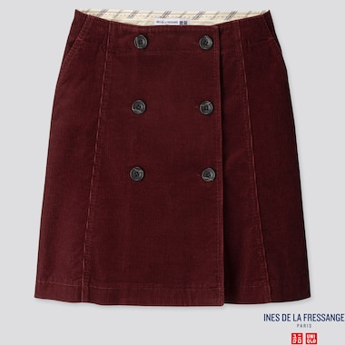 WOMEN CORDUROY MINI SKIRT (INES DE LA FRESSANGE), WINE, medium
