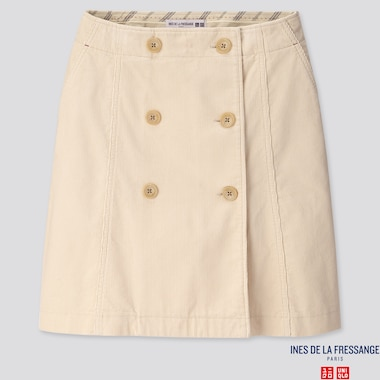 WOMEN CORDUROY MINI SKIRT (INES DE LA FRESSANGE), NATURAL, medium