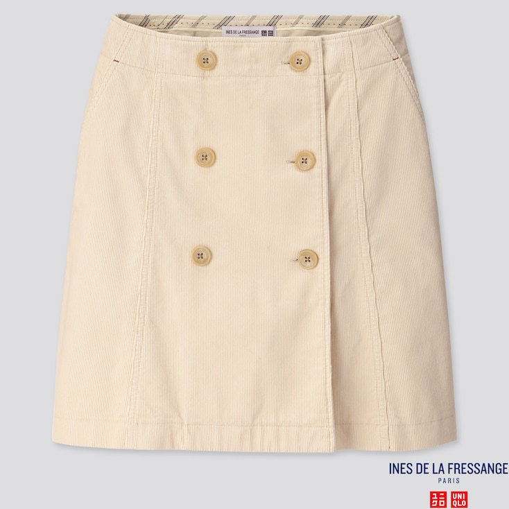 Women Corduroy Mini Skirt (ines De La Fressange), Natural, Large