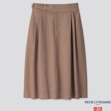 WOMEN COTTON TUCKED MIDI SKIRT (INES DE LA FRESSANGE), BROWN, medium