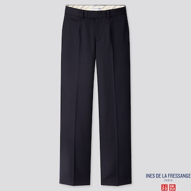 WOMEN WOOL-BLEND WIDE-LEG PANTS (INES DE LA FRESSANGE), NAVY, medium