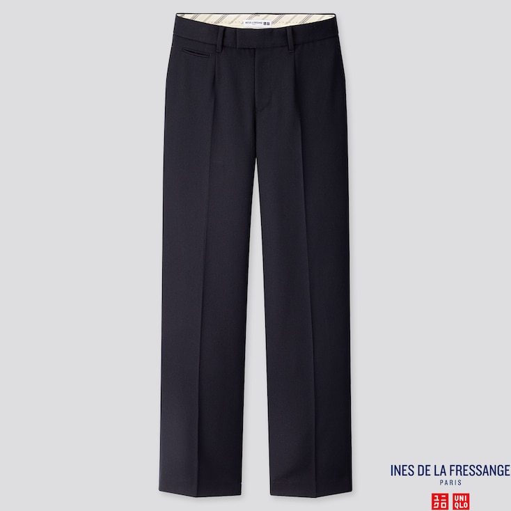 WOMEN WOOL-BLEND WIDE-LEG PANTS (INES DE LA FRESSANGE), NAVY, large