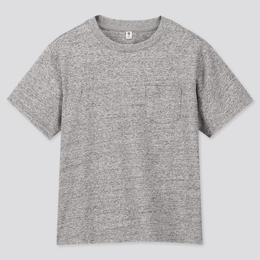 KIDS WASH CREW NECK SHORT-SLEEVE T-SHIRT (ONLINE EXCLUSIVE), GRAY, medium