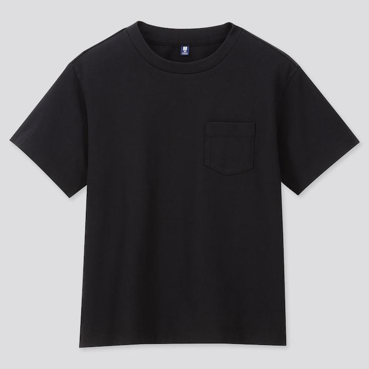 KIDS WASH CREW NECK SHORT-SLEEVE T-SHIRT (ONLINE EXCLUSIVE), BLACK, large