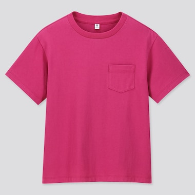 KIDS WASH CREW NECK SHORT-SLEEVE T-SHIRT, PINK, medium