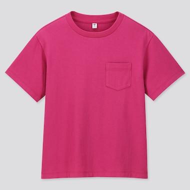 KIDS WASH CREW NECK SHORT-SLEEVE T-SHIRT (ONLINE EXCLUSIVE), PINK, medium