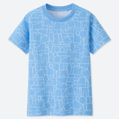 KIDS SUPER GEOMETRIC DUSEN DUSEN UT (SHORT-SLEEVE GRAPHIC T-SHIRT), BLUE, medium
