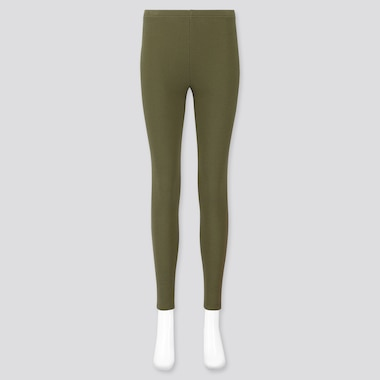 WOMEN WAFFLE LEGGINGS, OLIVE, medium