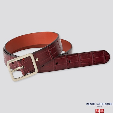 WOMEN EMBOSS BELT (INES DE LA FRESSANGE), WINE, medium