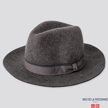 WOMEN FEDORA HAT (INES DE LA FRESSANGE), GRAY, medium