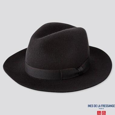 WOMEN FEDORA HAT (INES DE LA FRESSANGE), BLACK, medium