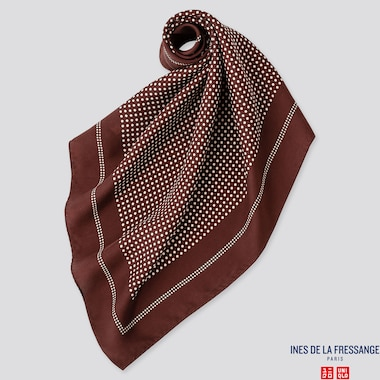WOMEN SILK SCARF (INES DE LA FRESSANGE), WINE, medium